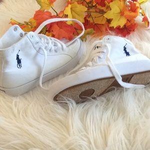 White Ralph Lauren High Top Shoes